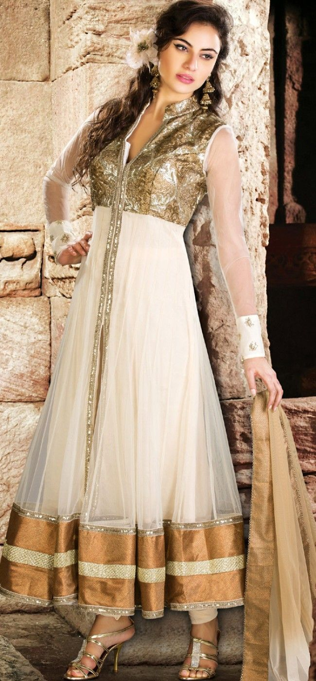 Offwhite and gold sequined anarkali: KSL2605