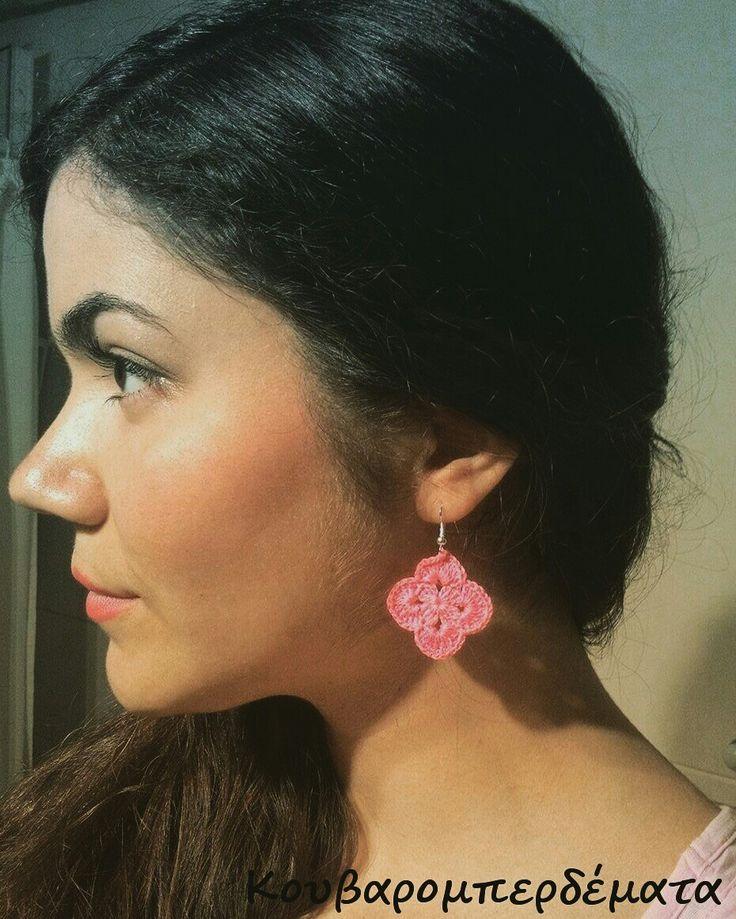 Pink earrings  #handmade #earrings #knitting #crochet #kouvaromperdemata #earrings #women #fashion #jewels