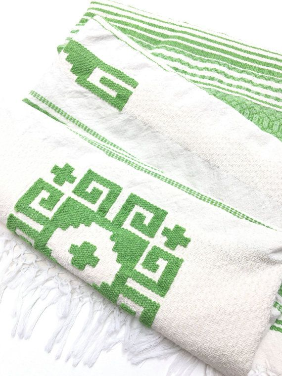 Boho Style Mexican Blanket, Hand Loomed Cotton, 93 in.x 53 in. Ivory and Spring Green, Bed Cover
