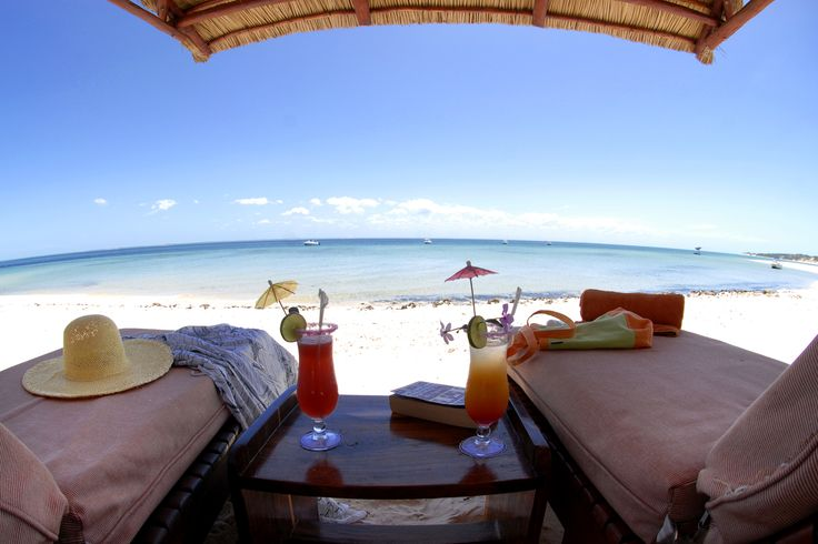 Sipping cocktails in Mozambique.