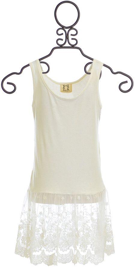 PPLA Lace Tank Top for Tweens in White (Size MD10/12)
