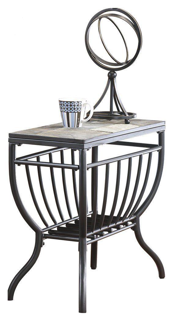Ashley Furniture Signature Design Antigo Chair Side End Table Contemporary Slate Top With Metal Bottom Black Chair Side Table End Tables Table