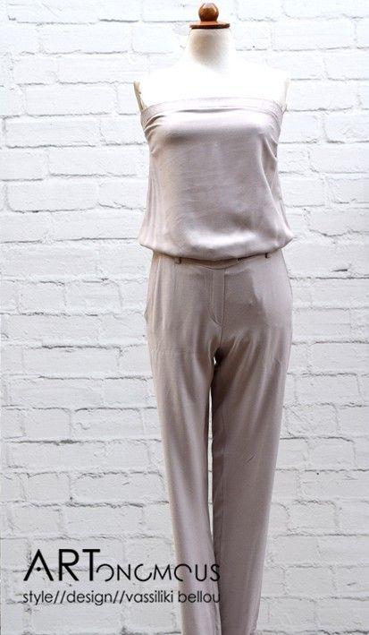 Nude color strapless Jumpsuit // artonomous.gr