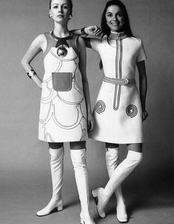Long white 70 s dress 60s style