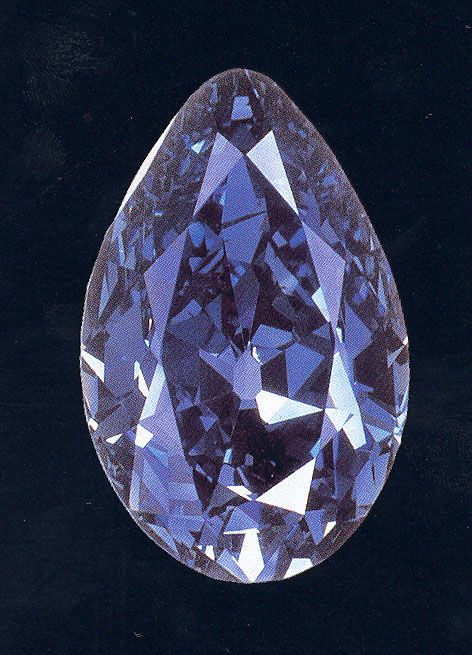 The Tereschenko Diamond. A fancy blue pear-shaped diamond weighing 42.92 metric carats, the fourth largest recorded blue diamond