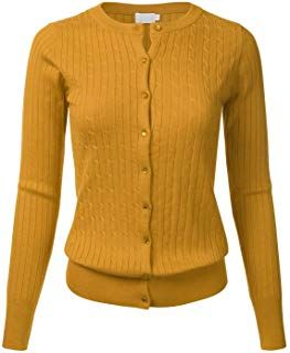 787aa8784c FLORIA Womens Classic Gem Button Long Sleeve Crew Neck Cable Knit Fitted Cardigan  Sweater (S-3XL)