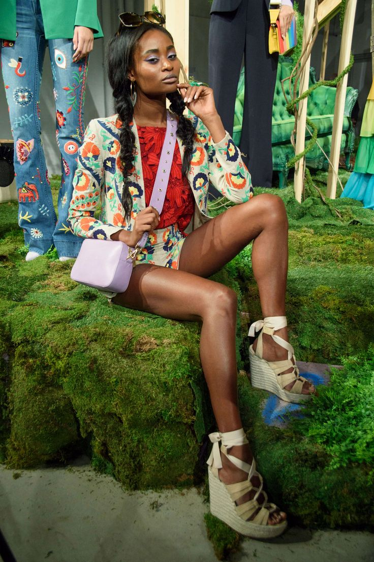 Alice + Olivia Spring 2017 - wedges, purse, and embriodered blazer and shorts!