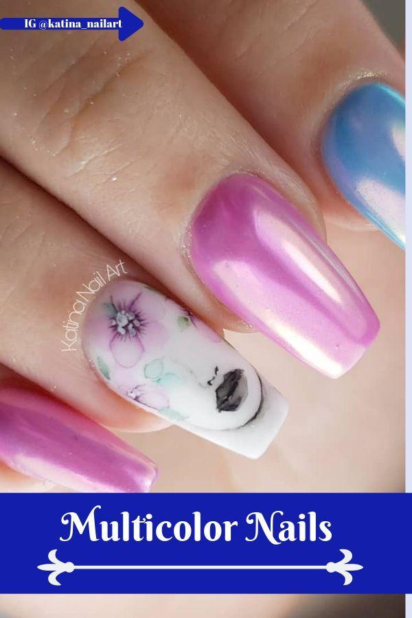 Mehrfarbige Nägel sind wild und mutig. Es sind ovale Nägel, die mehr … – Nagel Designs