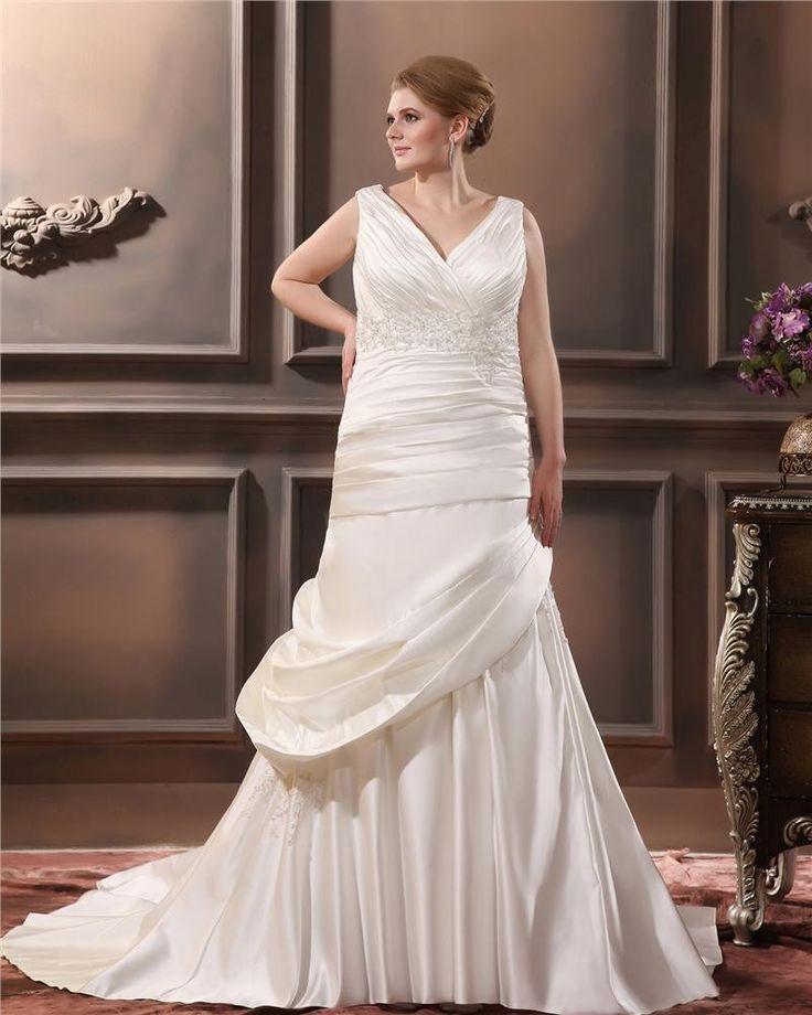 Satin V-ringad Beading Chapel Tag Imperium Plus Size Klänningar Brudklänningar Bröllopsklänningar