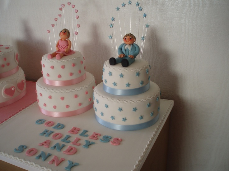 Brother and Sister Christening Cake