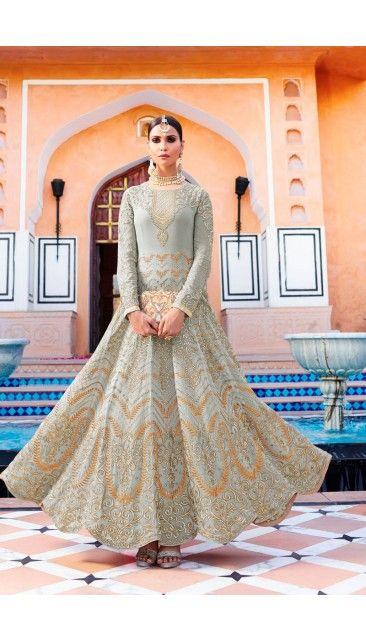 Designer Grey Georgette Anarkali Churidar Suit With Dupatta - DMV14869