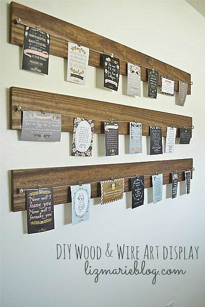 DIY wood-wire display.  Would be great for mini quilts, photos, anything you like. I'd use clothes pins tho.