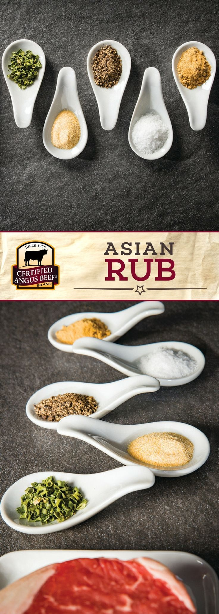 Certified Angus Beef®️️️️ brand Asian Rub combines minced chives, garlic, freshly cracked pepper and ground ginger for a DELICIOUS seasoning mix! This rub is a must-try with your favorite cut of beef. #bestangusbeef #certifiedangusbeef #steakrub #seasoning