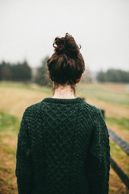 green sweater // milk + honey