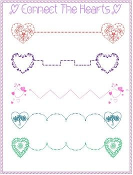 connect the hearts tracing activity free fun for little writers homeschool pinterest. Black Bedroom Furniture Sets. Home Design Ideas