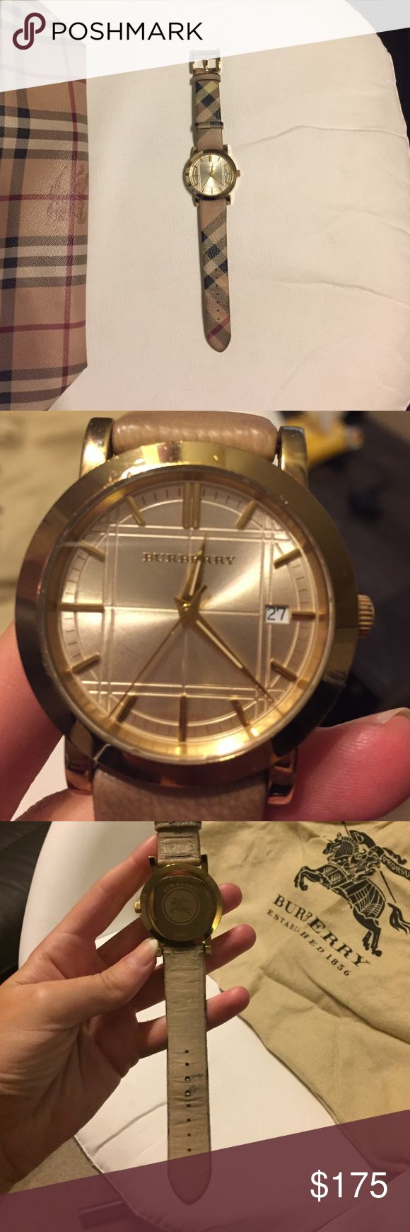 Burberry watch Used Burberry watch- needs new battery. Leather on back worn around holes but not noticeable when worn, small scratch on gold face as pictured. Burberry print leather band in great shape. Burberry Accessories Watches
