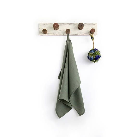 Army Green Tea Towel made of stone washed pure linen