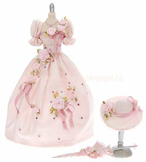 Girl Doll's Dress and Hat with Parasol