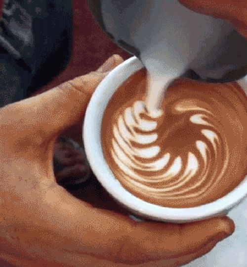 Latte art -- http://www.thesavory.com/food/50-most-amazing-food-gifs-ever.html #dragons #latteart #coffee #gifs