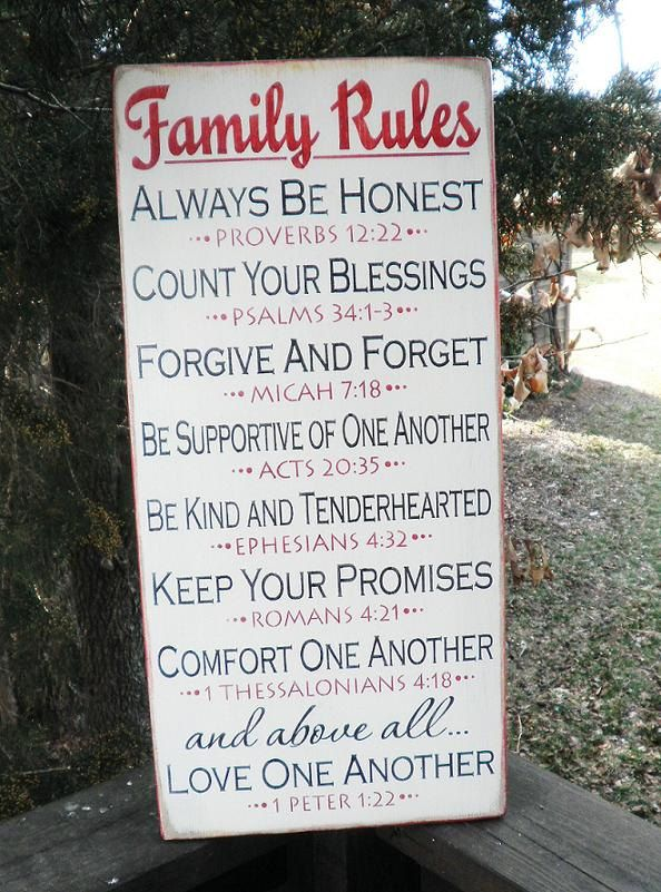 Family Rules Sign, scripture rules, inspirational sign. white.wood sign, primitive sign,wedding gift. $35.95, via Etsy.