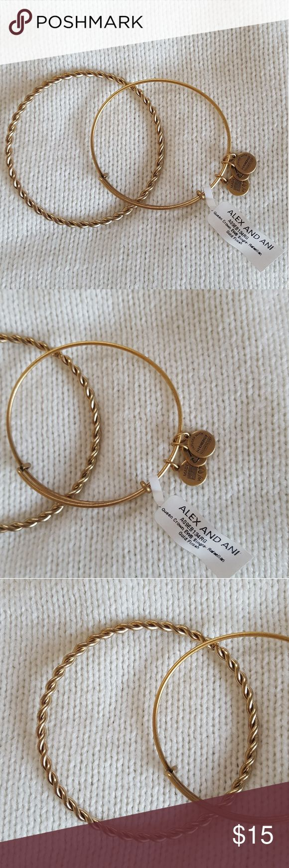 Alex & Ani Bangle 2 Bangles  -1 Alex and Ani Gold toned Bangle *missing charm* - 1 Gold toned Braided Bangle *not 100% sure this is Alex & Ani* Condition : Used but in great condition Alex & Ani Jewelry Bracelets