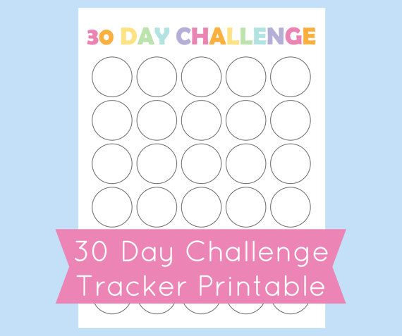 30 Day Challenge Tracker, Printable 30 Day Challenge ...
