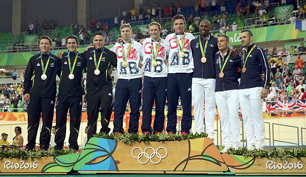 2016 Rio Olympics - Cycling Track - Victory Ceremony - Men's Team Sprint Victory…