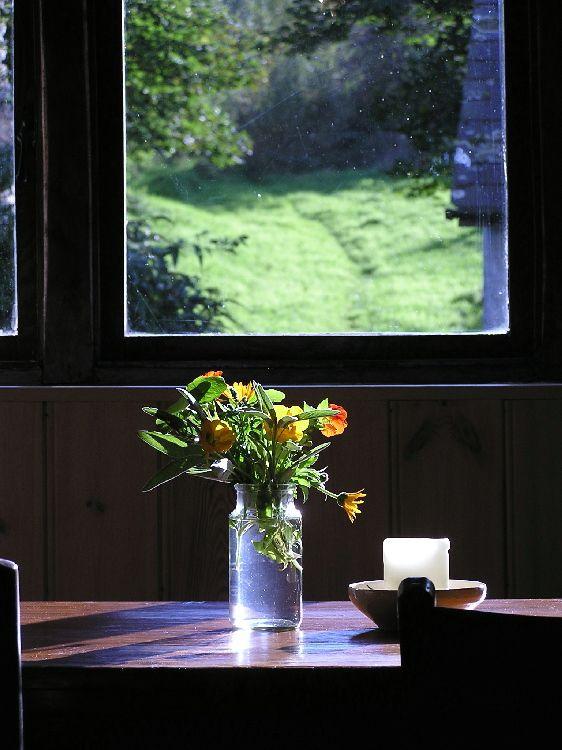 Mill Stream Cottage, Llandysul, South West Wales. The inside is simple and homely, with a woodburning stove and a supply of logs, furnished mostly with upcycled vintage or antique pieces in keeping with the buildings http://www.organicholidays.com/at/3326.htm
