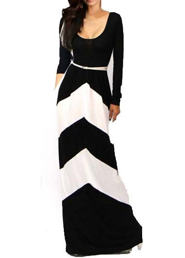 Chic Black and White Long Sleeve Maxi Dress
