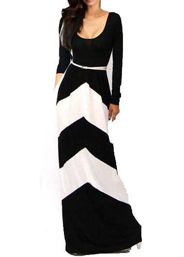 Comfy Round Neck Long Sleeve Maxi Dress