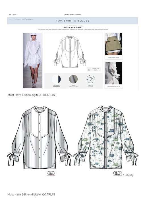 Carlin Group - Shirt style-exercise by Carlin and Marangoni Institut - Womenswear trend - SS 2017 - Trends (#612683)