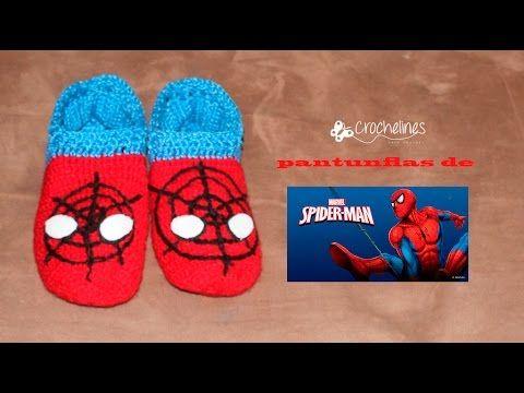pantunflas de spiderman muy sencillas de tejer. Crochelines - YouTube