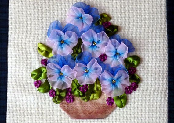 Blue white and pink pansy ribbon embroidery wall hanging