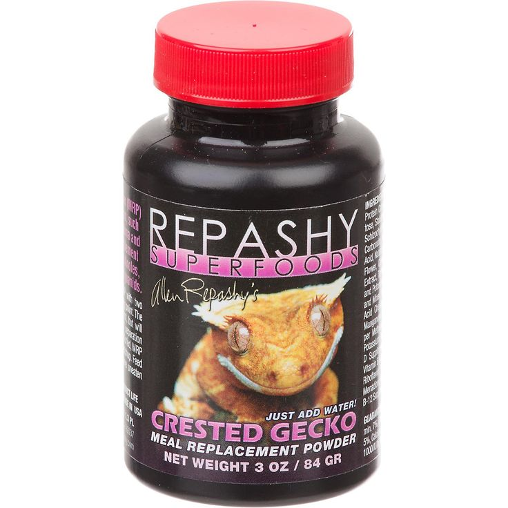 Repashy Super Foods Crested Gecko Meal Replacement Powder - An all-in-one super food, this meal replacement powder is for all fruit-eating geckos, such as Rhacodactylus, Phelsuma and Gekko. Also a great supplement for other species such as Anoles, Skinks, Chameleons,