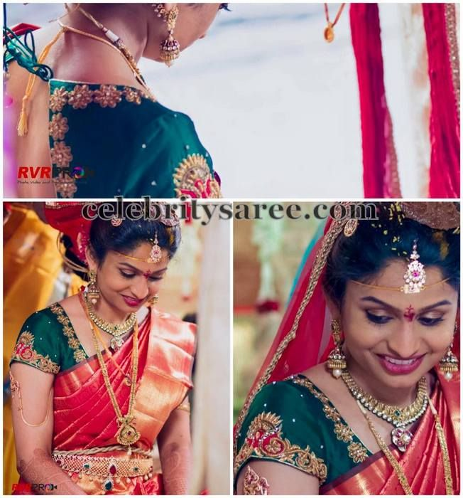 Bride in Bhargavi Kunam Rich Blouse | Saree Blouse Patterns