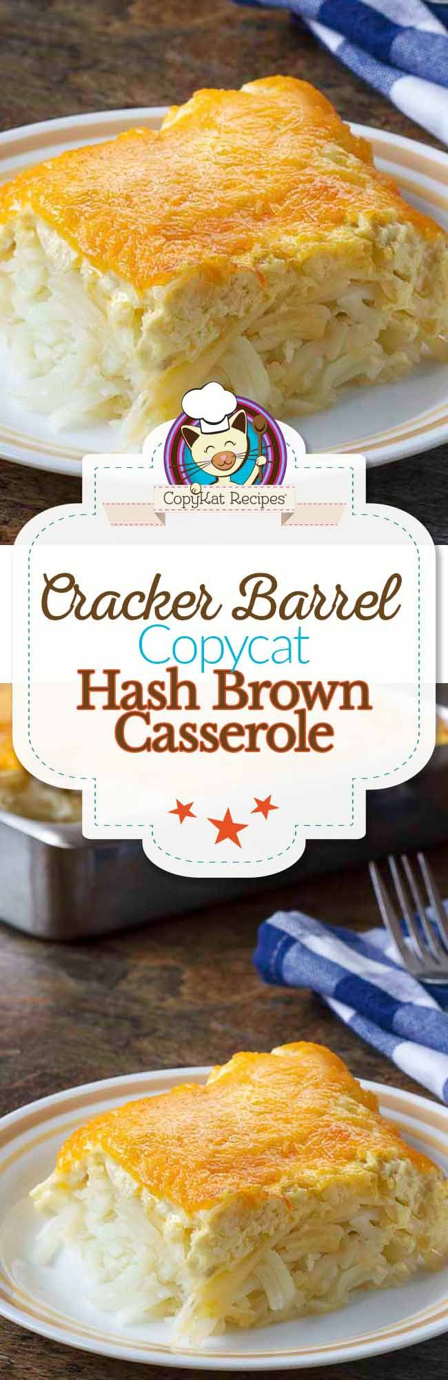 Make your own copycat recipe for Cracker Barrel  Hash Brown Casserole with this copycat recipe.