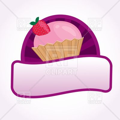 Cupcake with pink cream and strawberry - dessert label