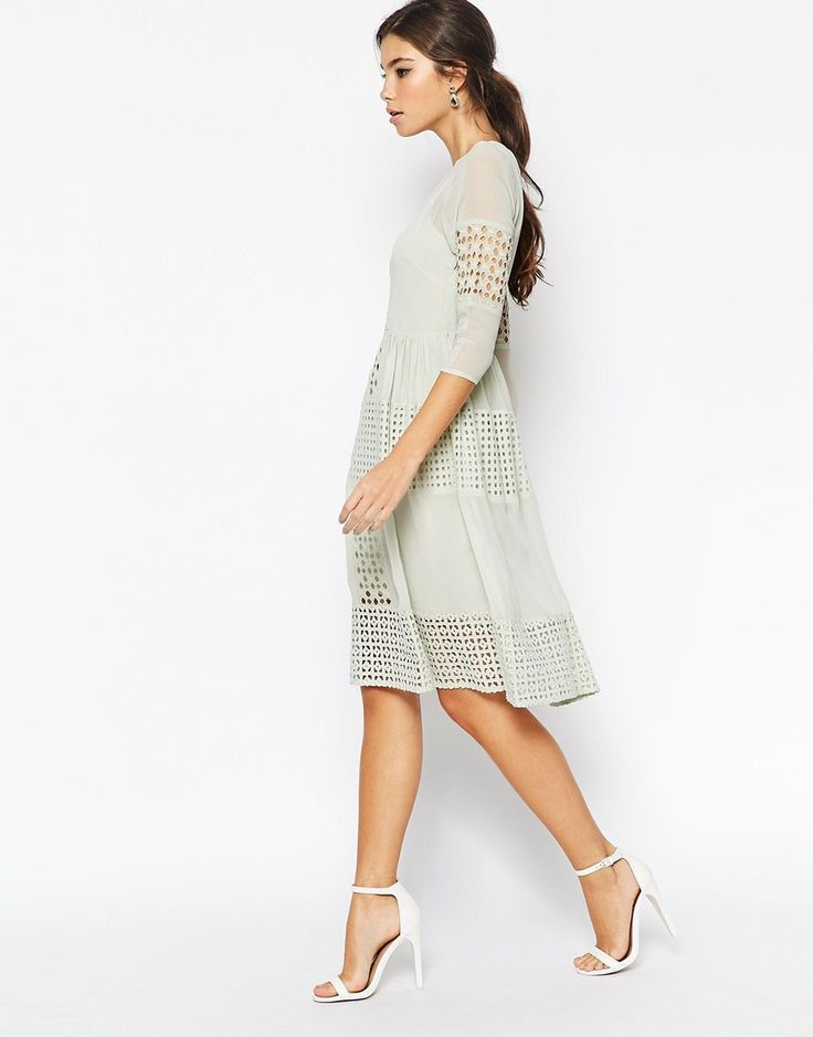 Image 4 of ASOS PETITE Midi Dress with Cutwork Detail