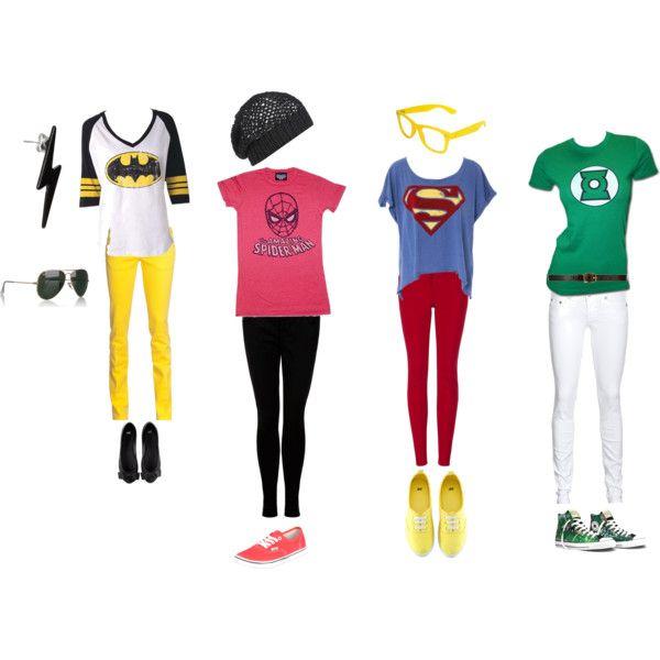 Superhero hero outfits I made. :)  Totally want the Superman one!