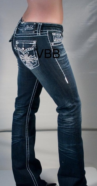 VINTAGE BLISS BOUTIQUE-LA IDOL JEANS — LA IDOL RHINESTONE CROSS JEANS 229LP