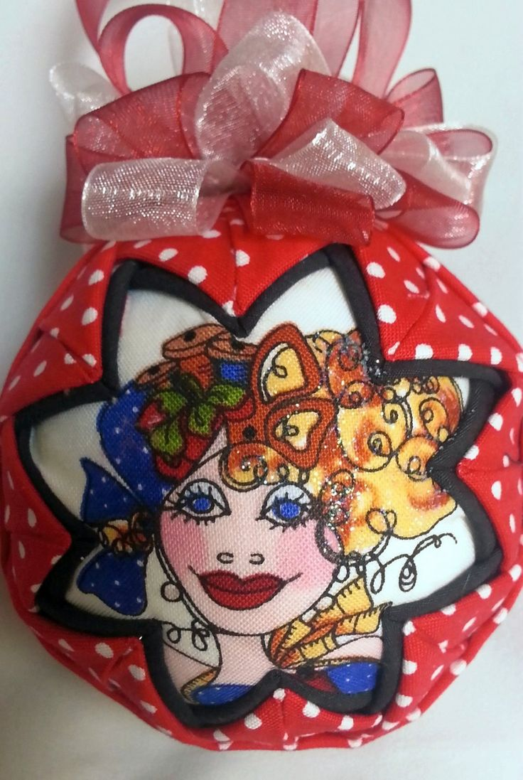 "Quilted Fabric Ornament ""Sew Pretty"" by OrnamentsByRebeccaT on Etsy"