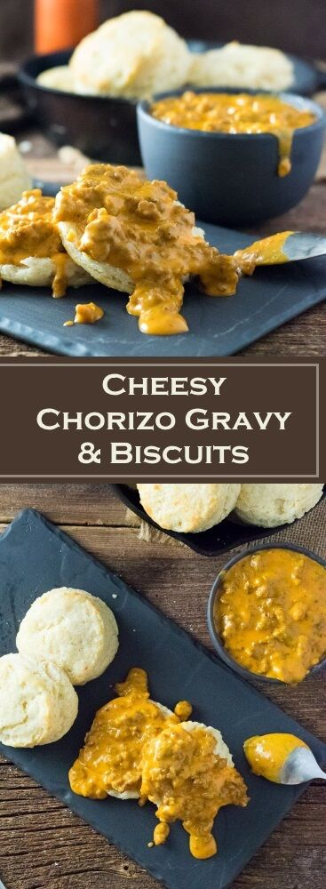 Cheesy Chorizo Gravy and Biscuits Recipe via @foxvalleyfoodie