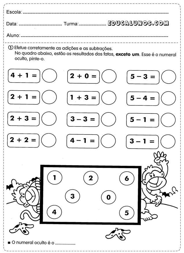Professores: atividade matemática 1 ano adição e subtração