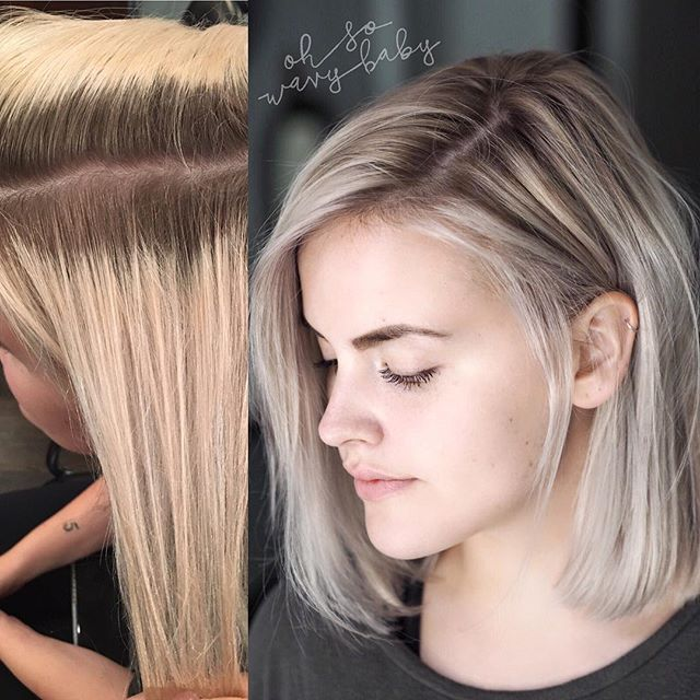 From grown out #doubleprocess to soft rooted blonde