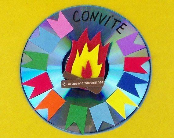 Armario Definicion Arquitectura ~ Convite com reciclagem de CD e papel para Festa Junina Festa Junina Pinterest