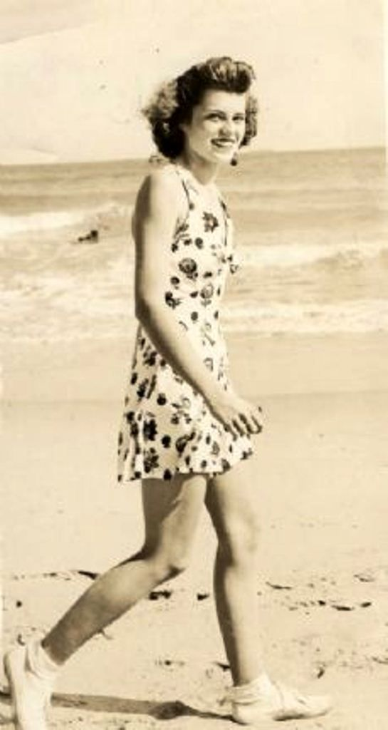 The young and radiant Eunice Kennedy walking the beach in 1940 . Love It . Beautiful Photo. ❤❤❤❤❤❤❤ http://en.wikipedia.org/wiki/Eunice_Kennedy_Shriver