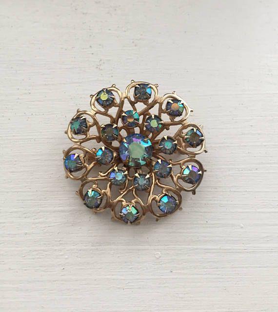 Crystal Brooch Gold Brooch Blue Crystal Brooch