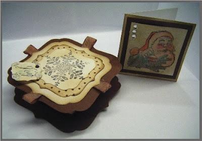 Fantastic Kaszazz Christmas workshop, box, gift cards. using Tim Holtz distress markers