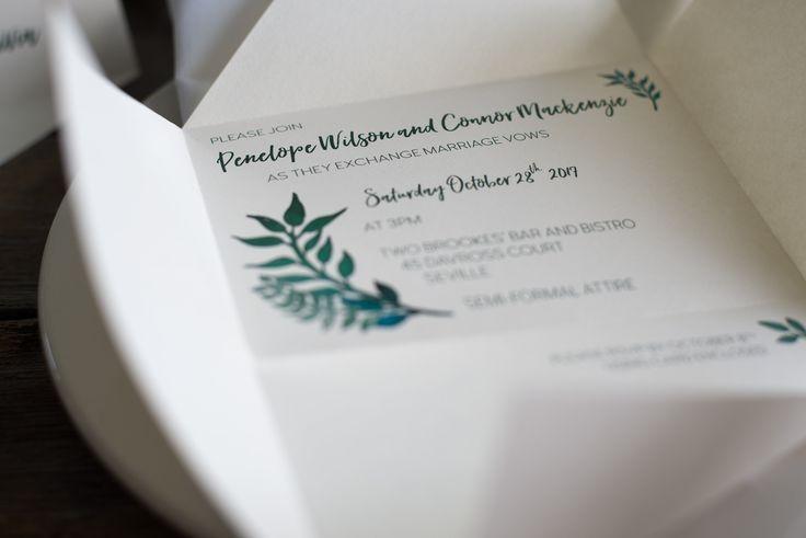 Custom rustic wedding invitation | Origami wedding invitation by A Tactile Perception | Greenery wedding invitation