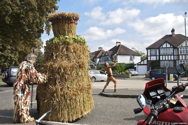 To the casual observer these rituals may seem eccentric, if not completely bizarre - from the man concealed inside a 10ft tall Straw Jack (pictured) in Carshalton, south London, to mark the last corn crop of the year in August, t